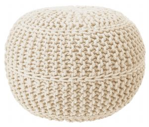 100% COTTON ROUND FOOT STOOL BRAIDED HANDMADE CUSHION DOUBLE KNITTED POUFFE CREAM COLOUR